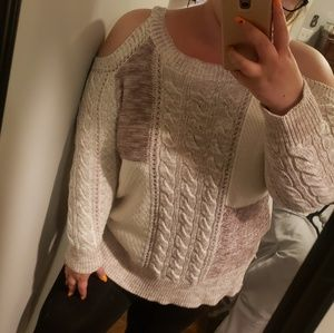 Knox rose oatmeal cold shoulder sweater xxl